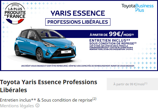 YARIS ESSENCE PROFESSION LIBERALES
