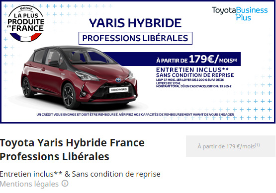 YARIS HYBRIDE PROFESSION LIBERALES