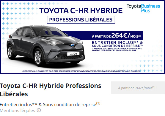 C-HR HYBRIDE PROFESSION LIBERALES