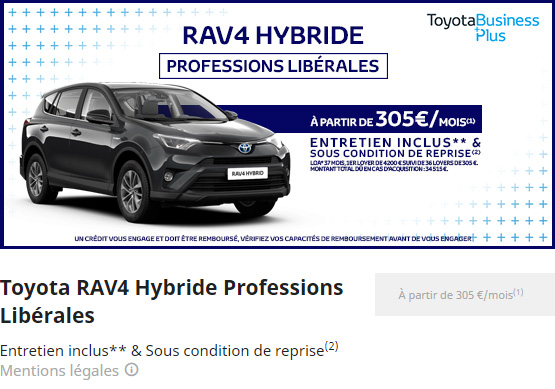 RAV4 HYBRIDE PROFESSION LIBERALES